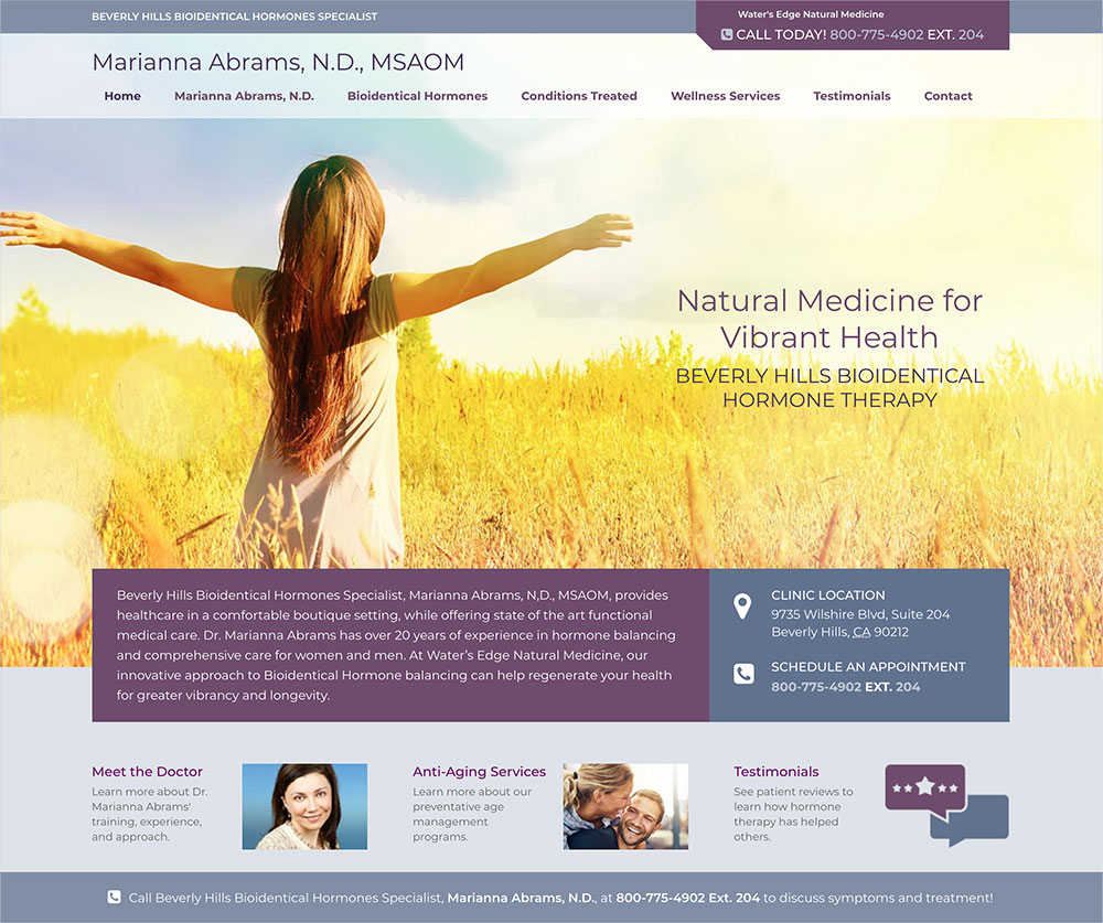 Beverly Hills Bioidentical Doctor Website Design